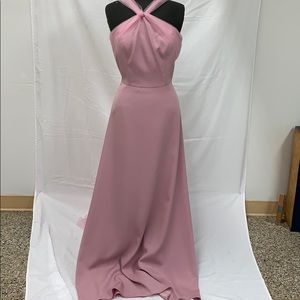Long formal rose petal dress